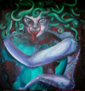 A painting I did for my art A Level aged 17 - Eve-Medusa